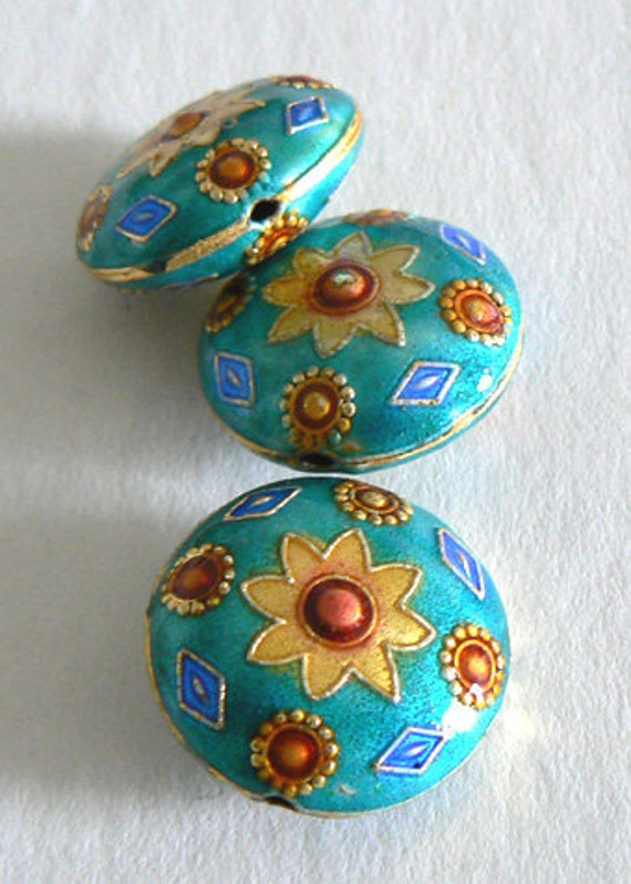 4 Handmade Cloisonne Beads Round 22x11mm Fat Flower Bead Gold Blue b2610