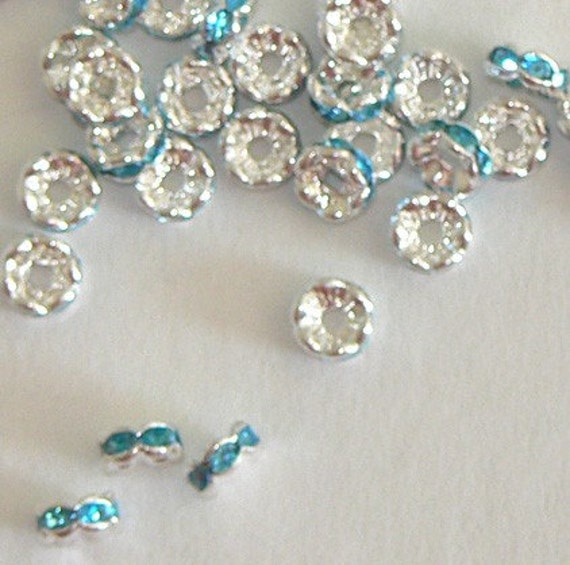 SALE 10pc 6mm Rhinestone Rondelle Beads Silver Plated Bead Aqua