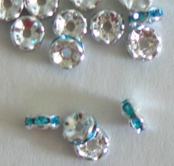 SALE 10pc 7mm Rhinestone Rondelle Silver Plated Bead Aqua