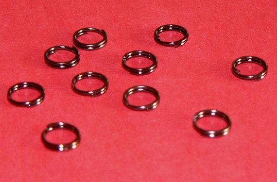 50pc Gunmetal Hematite Split Rings