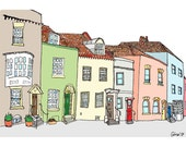 A Row of Colourful Houses - 6 x 8
