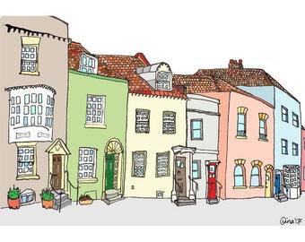A Row of Colourful Houses - 6 x 8
