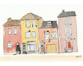 Four Little Houses - 5 x 7