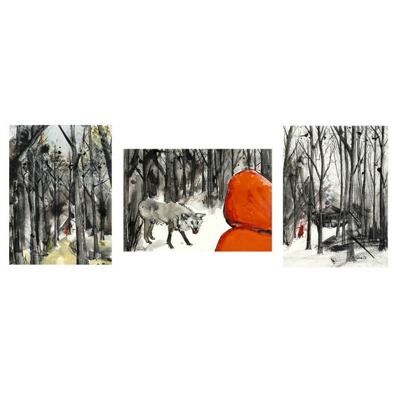 Little Red Riding Hood - 5 x 7 set of 3 prints