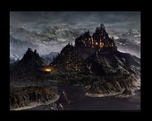MEDIEVAL CITY 20 inch x 30 inch PRINT by AWARD WINNING Fantasy and Sci Fi Illustrator Kyle Anderson