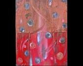 Original Art for Sale Fine Art 16 x 12 Abstract Copper Painting Karina Keri-Matuszak Raw Feng Shui