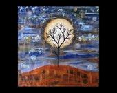 Was 275 Now 199, Original Art for Sale, Abstract Tree Art, Metal Artwork, Copper, Painting, Modern, Landscape, K Keri-Matuszak