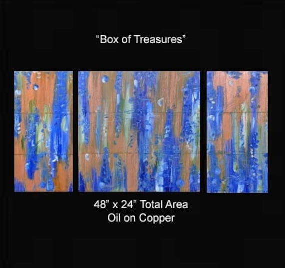 Art Sale was 335 Now 198 Artwork Paintings 48 x 24 Abstract Triptych Raw Karina Keri-Matuszak Blue Gold