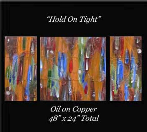 Art Sale Was 335 now 198 Original Art for Sale 48 x 24 Abstract Triptych Copper Painting Raw Feng Shui Karina Keri-Matuszak