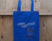 Owl Embroidered Tote Bag