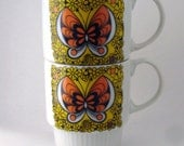 Vintage Pair of Butterfly Mugs Orange Yellow Stackable