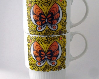Vintage Pair of Butterfly Mugs Orange Yellow Stackable FREE SHIPPING