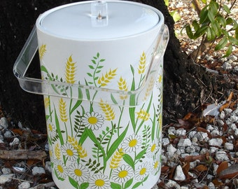 Tall Ice Bucket - Daisies with Acrylic handle FREE SHIPPING
