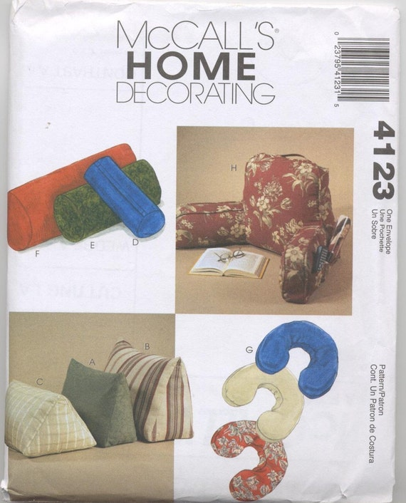 Comfort Zone Pillows Pattern - Wedges, Neck Roll, Bolsters, Neck Pillow, Lounge Pillow McCalls 4123 UNCUT