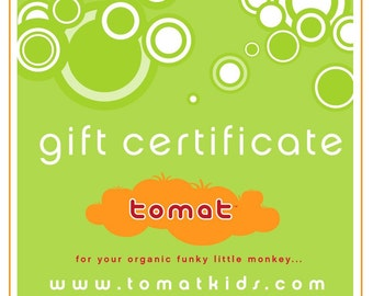 New Baby Gift, Gift Card, Baby Shower Gifts, Gift for couple, Tomat Gift Certificate Various Amount