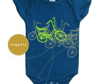 Bicycles Baby Boy Organic Onesie - Direct Checkout