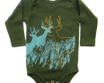 Gender neutral baby, Hipster Baby Clothes, Baby Girl Clothes, Baby Boy Clothes, Baby Gift, Deer Wildlife Baby Long Sleeves Organic Onesie