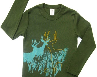 Hipster shirt, Kids Tshirt, Boys Clothing Toddler, Cool kids, toddler, Deer Wildlife Toddler Long Sleeves Organic Tee, Unisex, Wild Nature