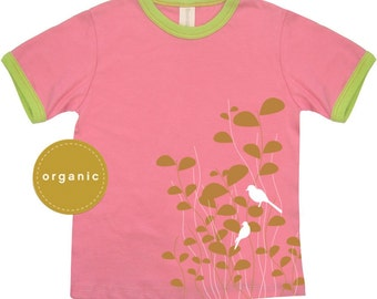 Cool kids, hipster shirt, hipster fashion, hipster kids clothes, Birds Organic Toddler Tshirt Pink, Sale