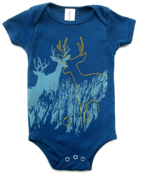 Hipster Baby Clothes, Gifts for baby boy, baby shower gift, Unisex Baby Clothes, Deer Wildlife Baby Organic Onesie, Gifts Under 25