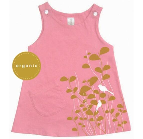 Birds dress pink organic (sale)