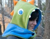 Reserved for PurePixie - Cuddly Dinosaur Scoodie in green, blue, orange