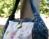 Bleached Denim and Multicolor Hobo Bag, BIG, Cotton, Rayon, Washable