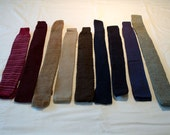 Neckties for crafting or wearing, sweater-knit, red, blue, brown, tan, gray, stripes