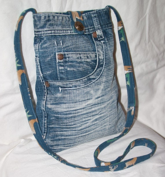 No. 391 Deconstructed Stone-Washed Denim Sling Bag for iPad