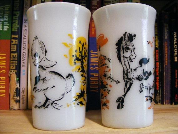 Vintage pair of Milk Glass Alphabet Tumblers