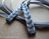 Dark Gray and Light Gray - braided ribbon barrettes