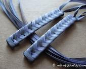 Purple and Dark Gray - braided ribbon barrettes