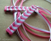 Hot Pink and White Braided Ribbon Barrettes - 1980s Style Hair Accessories for Girls and Women
