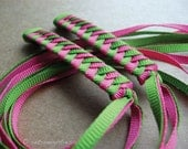 Green and Hot Pink - Braided Ribbon Barrettes with Grosgrain Ribbons