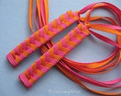 Hot Pink and Orange - Braided Ribbon Barrettes with Grosgrain Ribbons
