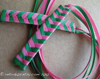 Green and Hot Pink Braided Ribbon Barrettes - 1980s Style Hair Accessories for Girls and Women