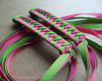 Green and Hot Pink Braided Ribbon Barrettes with Grosgrain Ribbons - 1980s Style Hair Accessories for Girls and Women