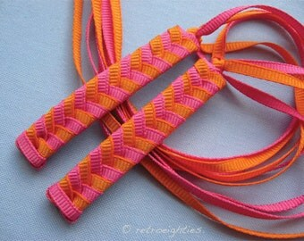 Hot Pink and Orange Braided Ribbon Barrettes with Grosgrain Ribbons - 1980s Style Hair Accessories for Girls and Women