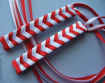 Red and White Braided Ribbon Barrettes - 1980s Style Hair Accessories for Girls and Women