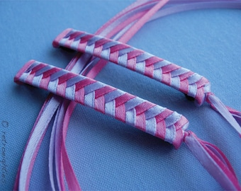 Hot Pink and Purplish Pink Braided Ribbon Barrettes - 1980s Style Hair Accessories for Girls and Women