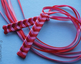 Red and Hot Pink Braided Ribbon Barrettes - 1980s Style Hair Accessories for Girls and Women