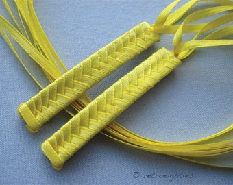 Yellow Braided Ribbon Barrettes - 1980s Style Hair Accessories for Girls and Women