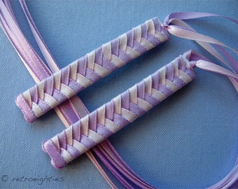 Purplish Pink and Light Pink Braided Ribbon Barrettes - 1980s Style Hair Accessories for Girls and Women