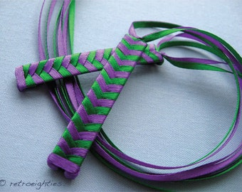 Purple and Green Braided Ribbon Barrettes - 1980s Style Hair Accessories for Girls and Women