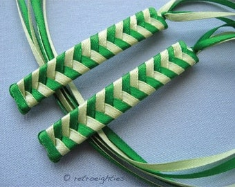Green and Light Green Braided Ribbon Barrettes - 1980s Style Hair Accessories for Girls and Women