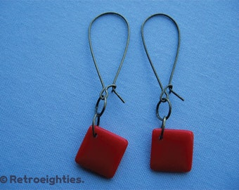 Red Diamonds (with Antique Brass Kidney Earwires) - Dangling Earrings