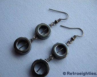 Hematite Double O (with Gunmetal Fish Hooks) - Dangling Earrings