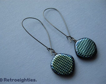 Blue, Green, and Orange Iridescent (with Gunmetal Kidney Earwires) - Dangling Earrings