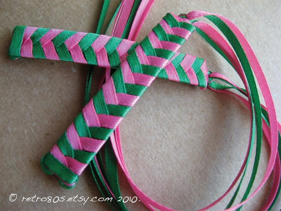 Froggy and Piggy - Braided Ribbon Barrettes