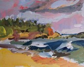 Beach in Kapaa Kauai 5 x 5 small original painting
